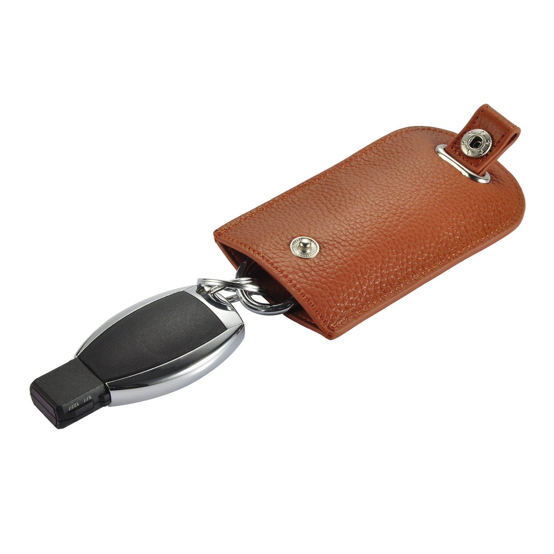 JUMI Schlüsseletui echt Leder Schlüsseltasche Auto Schlüsselmäppchen Schlüsselhalter für Herren und Damen Braun YB66902