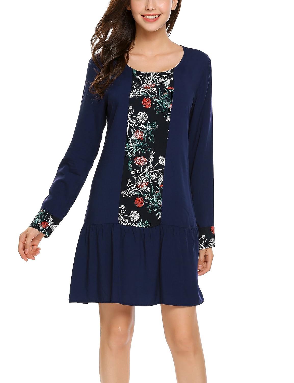 Beyove Damen Langarm T-Shirt Kleid Shirtkleid Baumwollkleid Rundhals Casual Kleid mit Blumen Langarmkleid Tunika Minikleid Herbst Kleider Winter