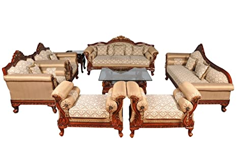 woodkartindia royal design maharajah look 7 seater sofa set with rh amazon in wooden sofa design catalogue wooden sofa designs pictures latest