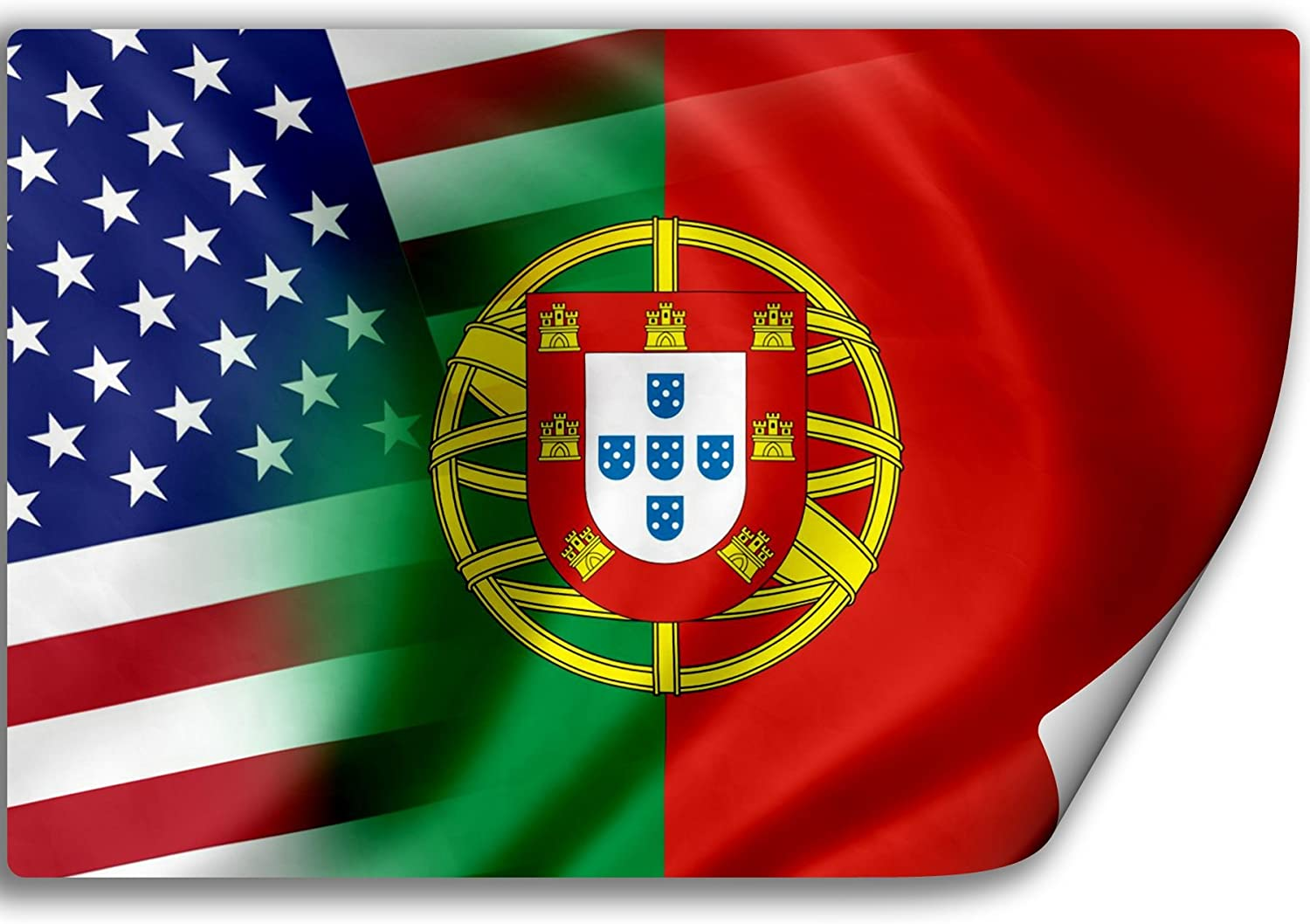 Amazon.com: ExpressItBest Sticker (Decal) with Flag of Portugal and USA ( Portuguese): Automotive