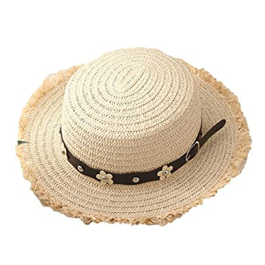 Flat Top Straw Boater Hats for Summer Wide Brim Beach Sun Hats with Tassels 2018  Straw Hats 7c81df56cf84