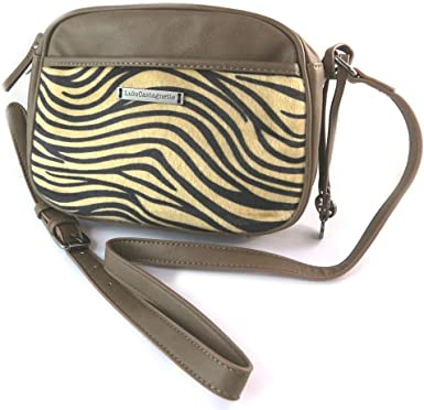 Amazon Com Bag Designer Lulu Castagnette Brown Striped 25x18x9 Cm 9 84 X7 09 X3 54 Clothing