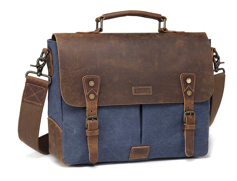 Amazon.com   Vaschy Vintage Genuine Leather Canvas Messenger Bag Laptop  Briefcase Satchel Shoulder Bag Bookbag with Detachable Strap   Messenger  Bags 80c3241071