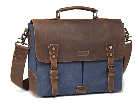 a514473a8a6 Vaschy Casual Genuine Leather Canvas messenger Bag Notebook Shoulder Bag  Bookbag with Detachable Strap