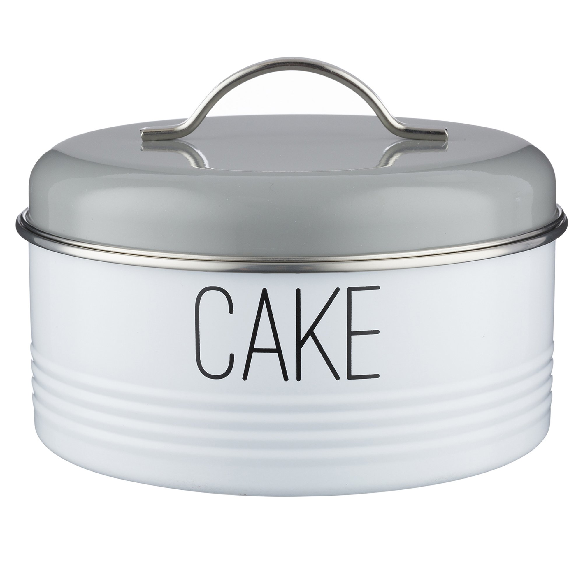 Typhoon Vintage Mayfair Coated Steel Cake Storage Tin with Airtight Lid; Designed To Hold Cakes, Muffins and Sweet Treats; 128-Fluid Ounces; Gray and White