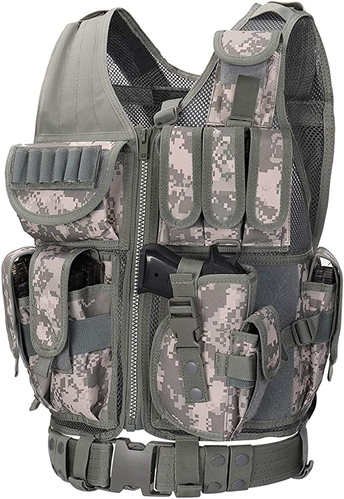 Image of the tactical vest in ACU color, with multiple pockets and zipper-up closure, below it is a tactical belt.