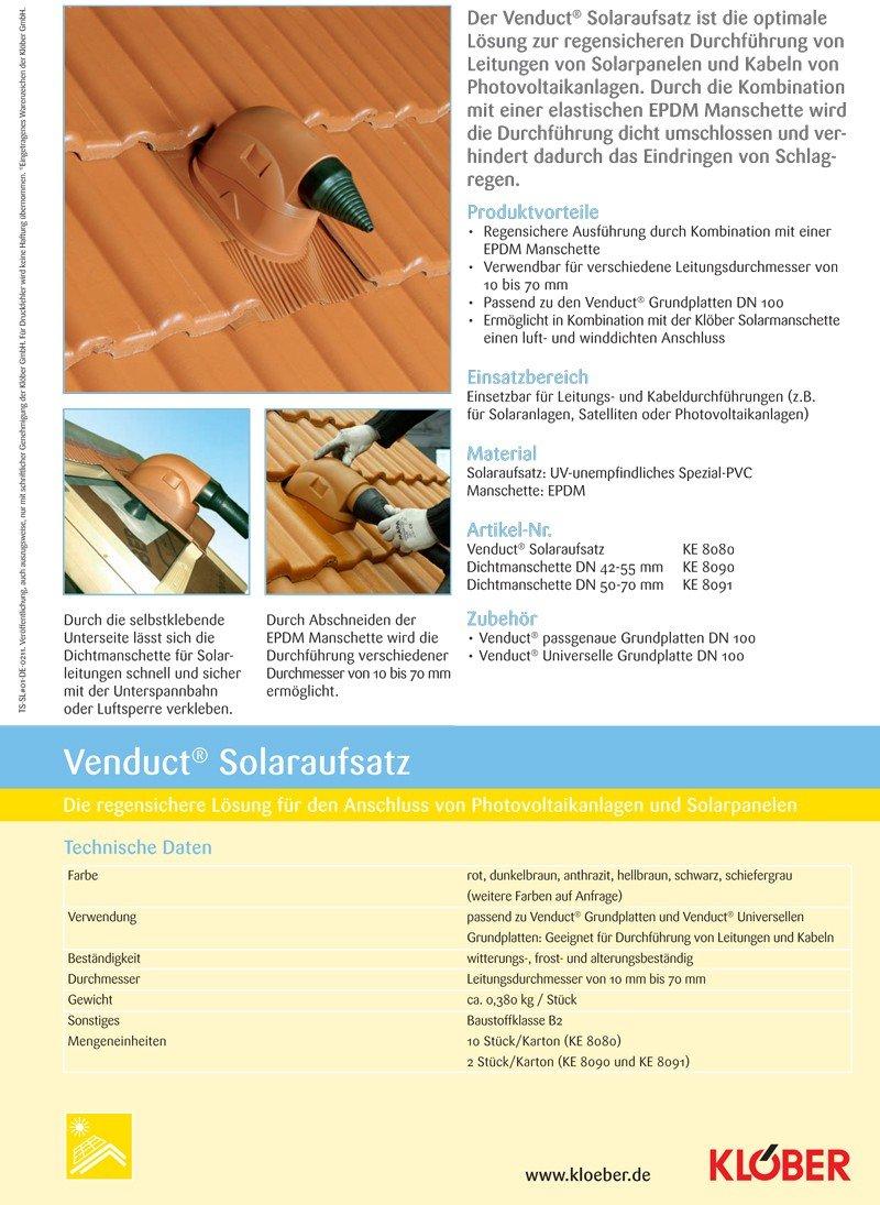 Kl/öber Venduct DUO Solardurchf/ührungs-Set anthrazit Universal Dachdurchf/ührung Solarleitung KE8270-0429
