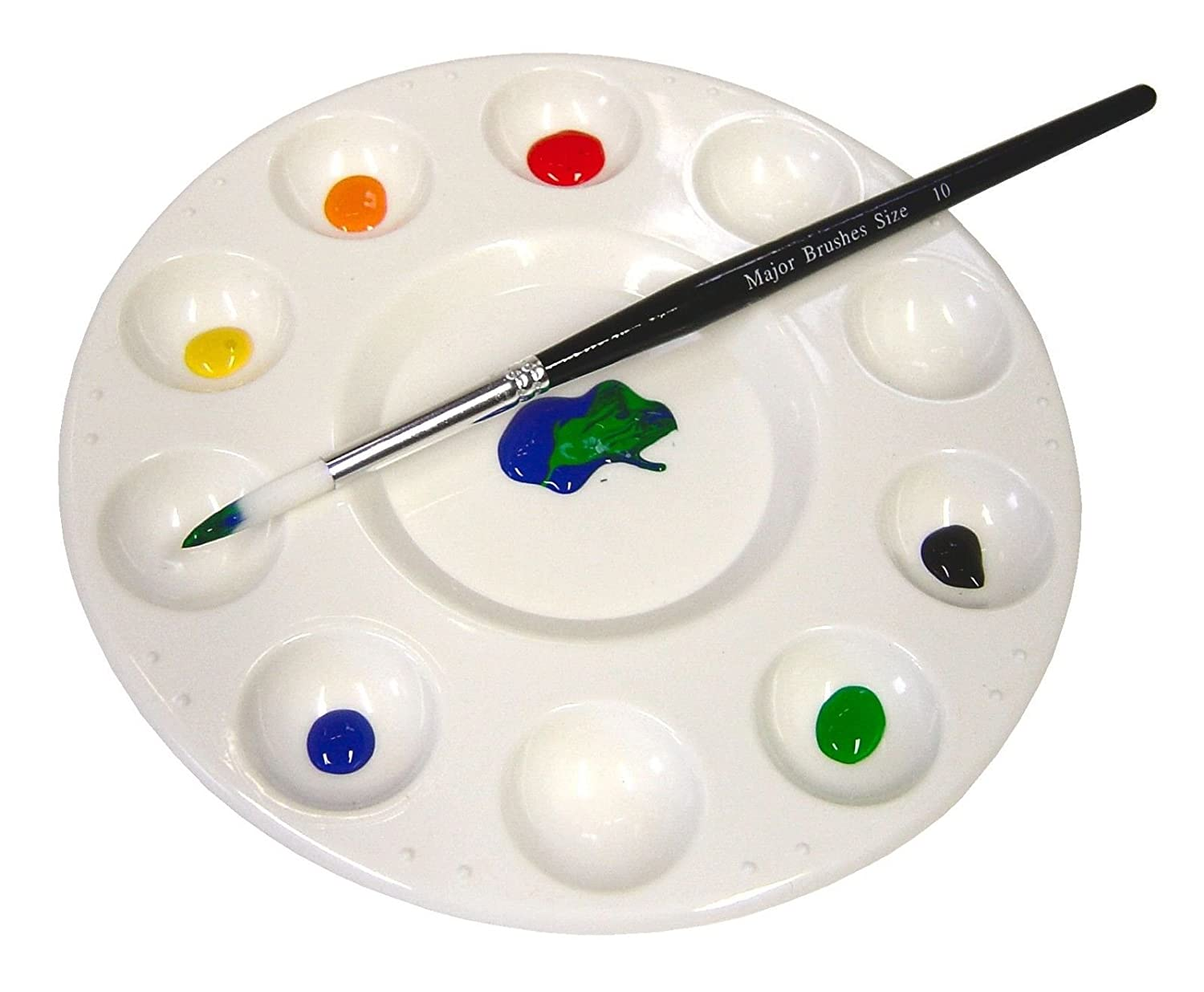 10 Well Round Artist Paint Colour Mixing Palette for Watercolours Oils Acrylics Major Brushes