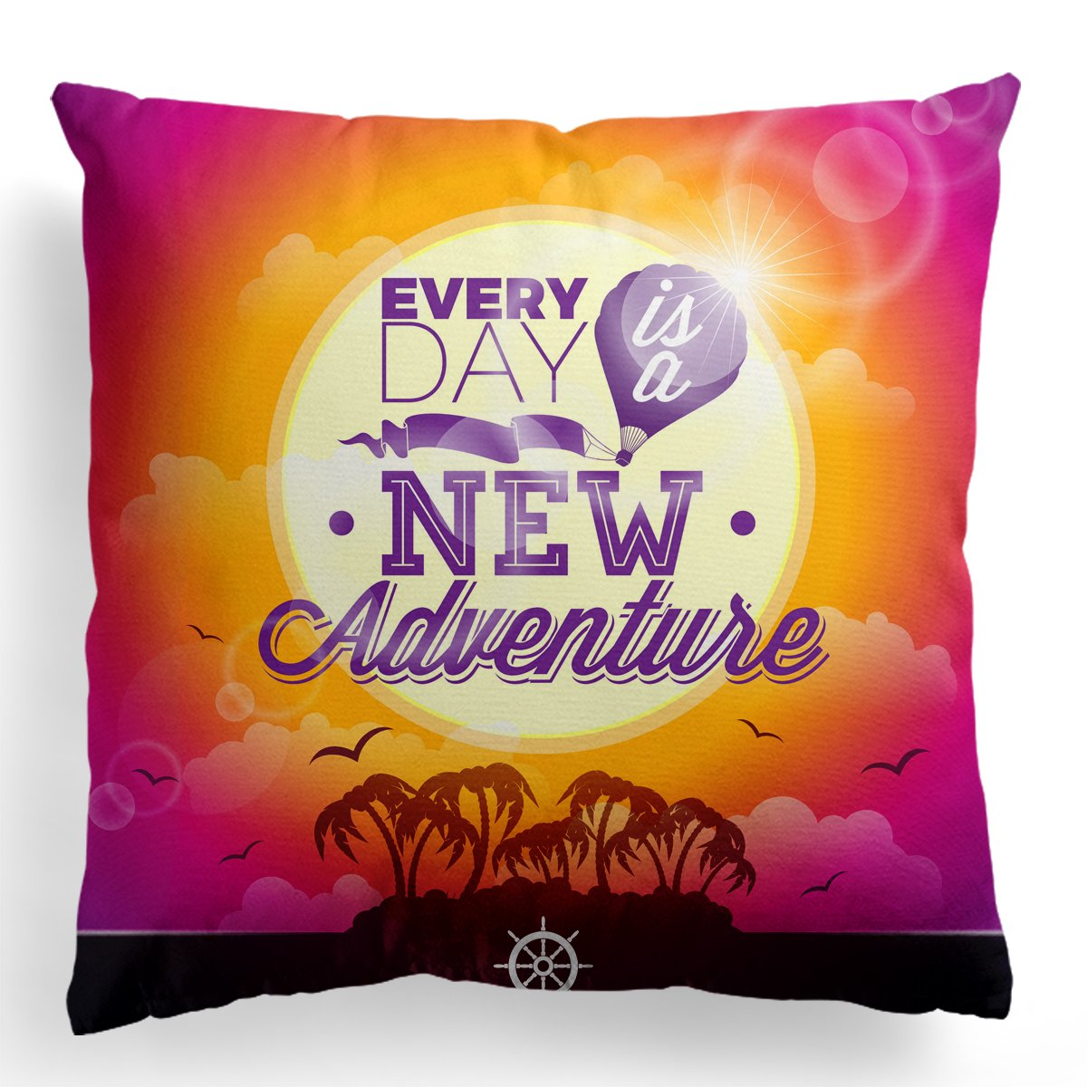 Huiyouge Every Day is A New Adventure Print Throw Pillow Decorative Square Cushion Cover for Pillow Inserts