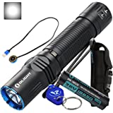 Olight M2R Warrior 1500 Lumen Magnetic USB Rechargeable LED Compact Tactical Flashlight (Cool White or Neutral White) with Lumen Tactical Keychain Light