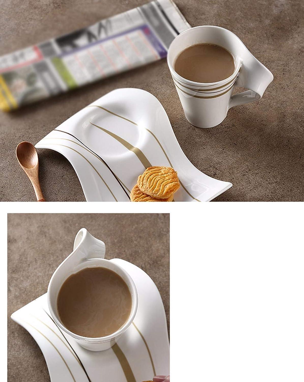 Taza de cerámica Taza de cerámica Taza de Agua Simple Personalidad Creativa café Taza con platillo Taza de Leche: Amazon.es: Hogar