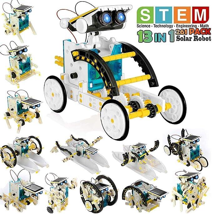 Pickwoo Solar Robot Kit for Kids 14-in-1 Upgrade STEM Robot Toys Solar Powered Robot DIY Assemble Robot Toys