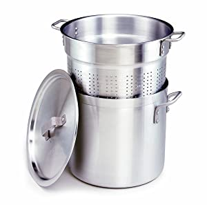 Crestware PASTA20 20-Quart, 3-Piece Aluminum Pasta Cooker with Pot, Perforated Insert and Pan Cover, Silver