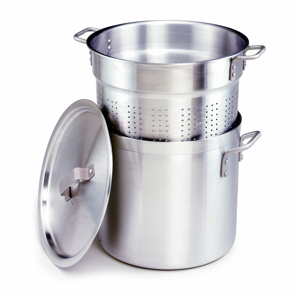 Crestware 20-Quart, 3-Piece Aluminum Pasta Cooker with Pot, Perforated Insert and Pan Cover