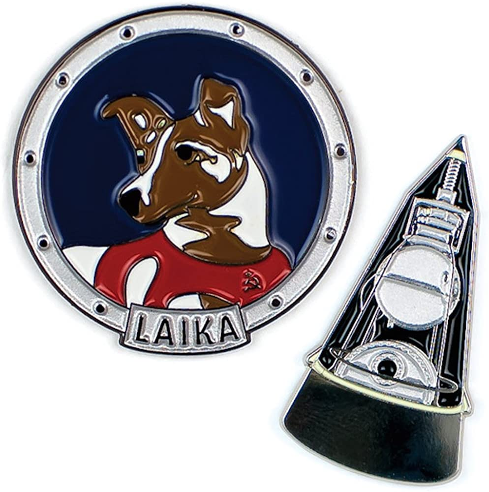 The Unemployed Philosophers Guild Laika and Sputnik Enamel Pin Set - 2 Unique Colored Metal Lapel Pins