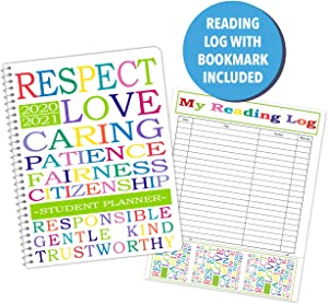 """Dated Elementary Student Planner and Free Reading Chart with Bookmark for Academic School Year 2020-2021- Jostens Planner Brand- (8-1/2"""" x 11"""")"""