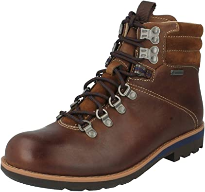 NEW CLARKS PADLEY HI GTX GORETEX BROWN LEATHER WATER PROOF BOOTS SIZE 7.5
