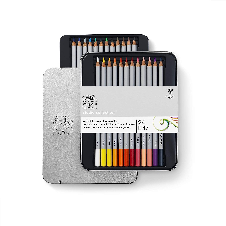 set 24 lapices de colores Winsor & Newton en caja metalica