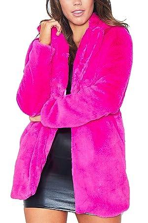 Abrigos de Abrigo de Piel sintética Informal Elegante para Mujer Fluffy Furry (Color : Rosa roja, tamaño : XXL): Amazon.es: Hogar