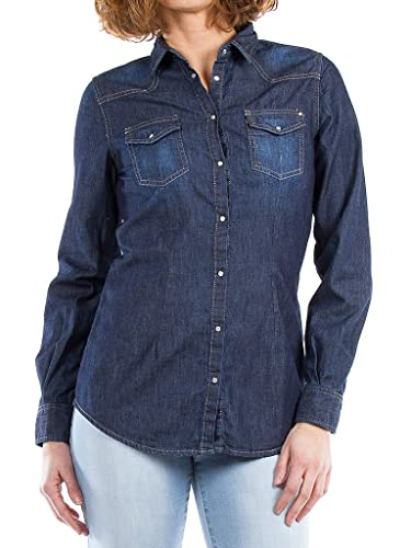 Carrera Jeans Camisa Jeans 290 Para Mujer, Estilo Western, Ajuste Regular, Manga Larga