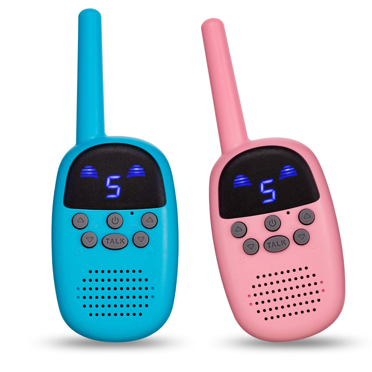 omzer Toy Walkie Talkies For Kids With FRS GMRS Handheld Interphone Long Range For Adventures, Camping, Hiking, Great Creative Gifts For 4-7 Years Old Girls Boys(Pink and Blue, 1 Pair) by omzer (Image #1)