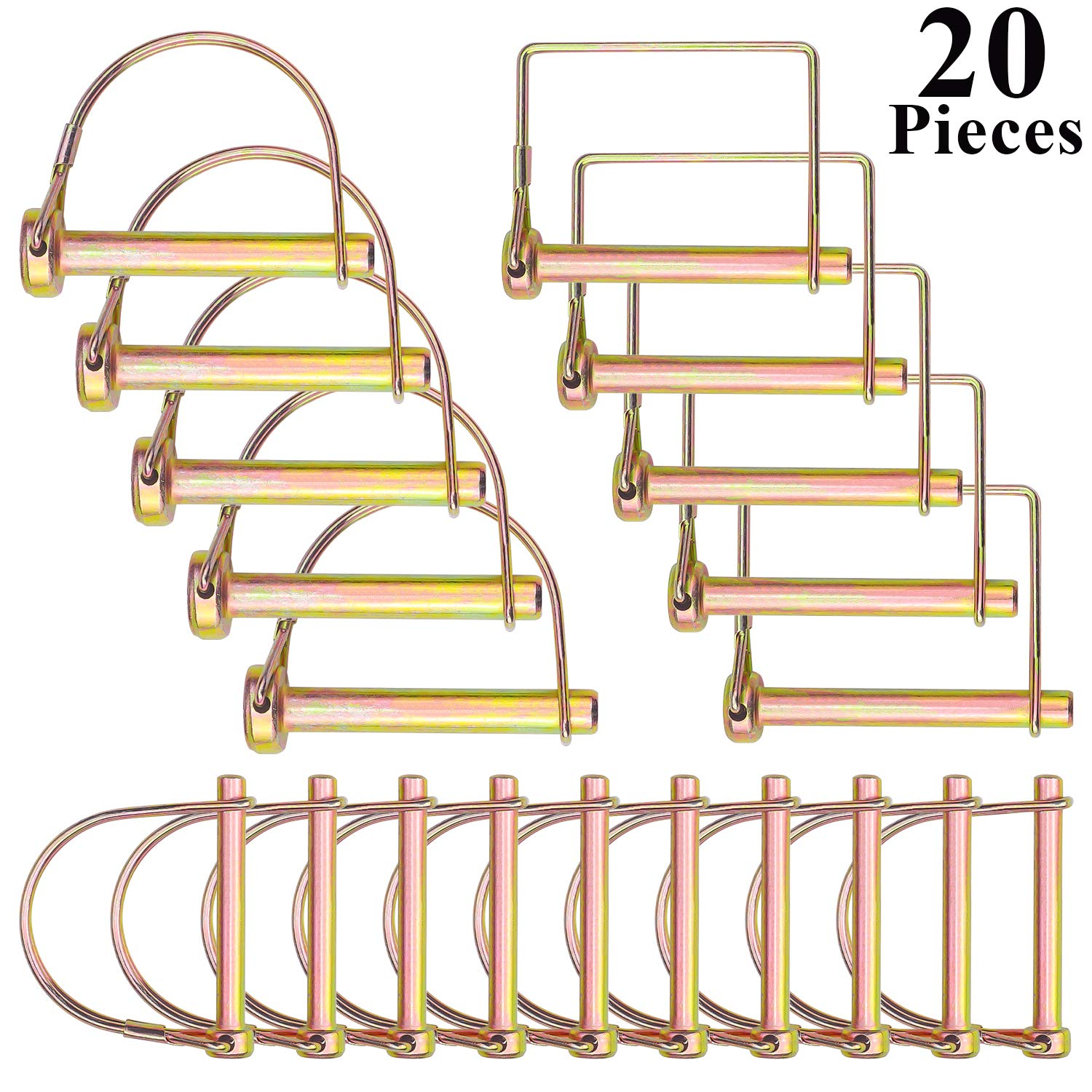Favordrory 20 Pieces Shaft Locking Pin Safety Coupler Pin 1/4 inch, 5/16 inch, 3/8 inch Diameter in 2 Shapes of Square and Arch for Farm Trailers Wagons Lawn Garden by Favordrory