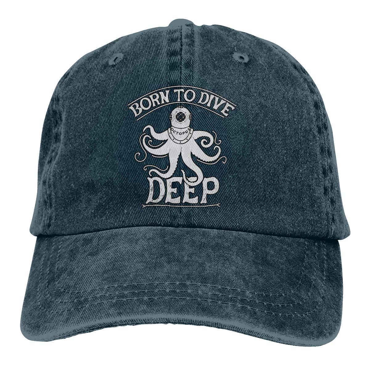 Unisex Vintage Octopus with Diver Helmet Vintage Washed Dad Hat Popular Adjustable Baseball Cap
