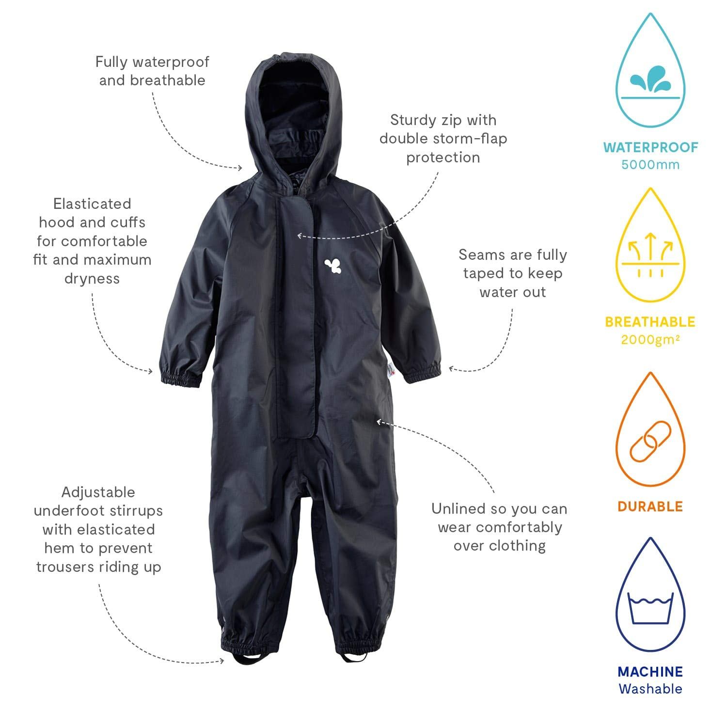 afd72a42c93a Muddy Puddles Originals Children s All in One Waterproof Suit Hooded ...