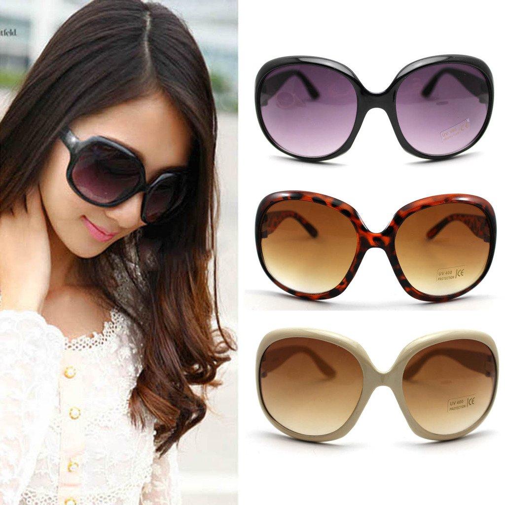 Fashion Women's Sunglasses Retro Vintage Big Frame Goggles Shades Eyeglass(Black) GGG