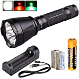 Fenix TK32 2016 1000 Lumens Rechargeable Tri-Color LED Tactical Flashlight w/ Fenix 18650 Battery, ARE-X1 Charger and 2x LumenTac CR123A Batteries