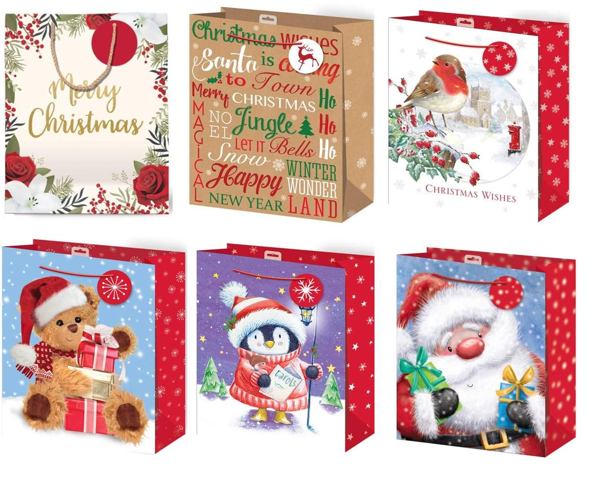 Christmas Gift Bags.Set Of 6 Large Christmas Gift Bags With Rope Handle Tag Mixed Designs Pack A 33x26cm