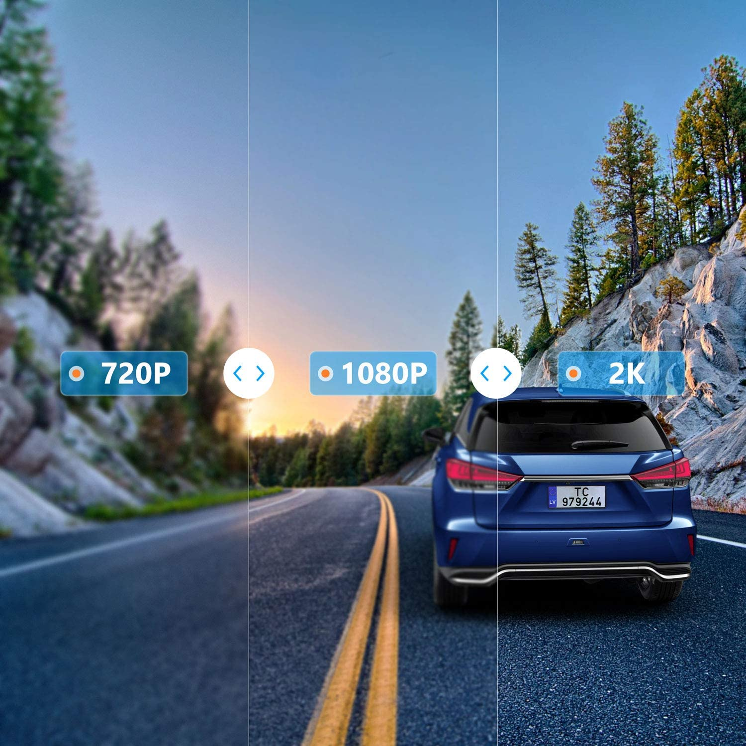 TOGUARD Backup Camera 12 Mirror Dash Cam Touch Screen Voice Command 2K Dual Dash Camera for Cars Streaming Video Rear View Camera with 1080P Waterproof Rear Camera