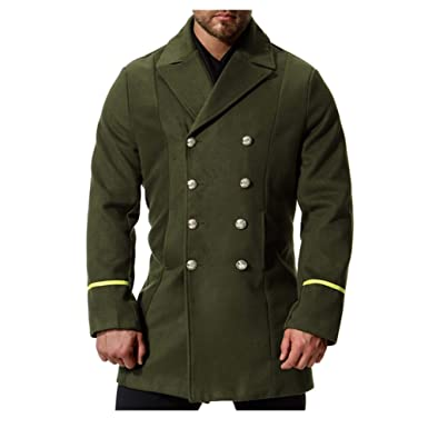 Men/'s Trench Coat Woolen Jacket Single Breasted Peacoat Parka Overcoat Lapel New