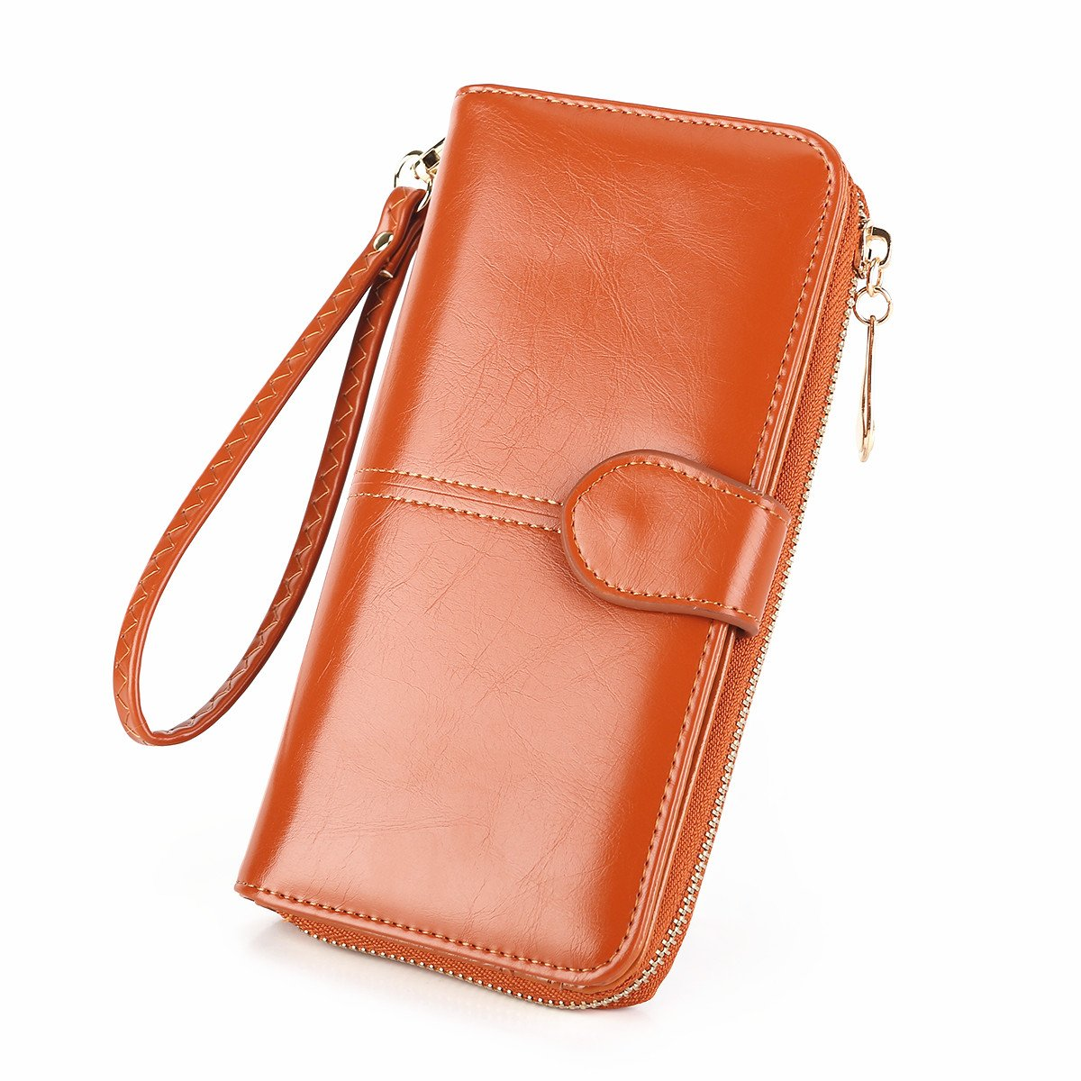 Women's Wallet Long Handbag RFID Blocking Large Capacity Purse Luxry Waxed Leather Clutch Case Bifold Multi Card Organizer Wristlet Strap - Laimi Duo (Brown)