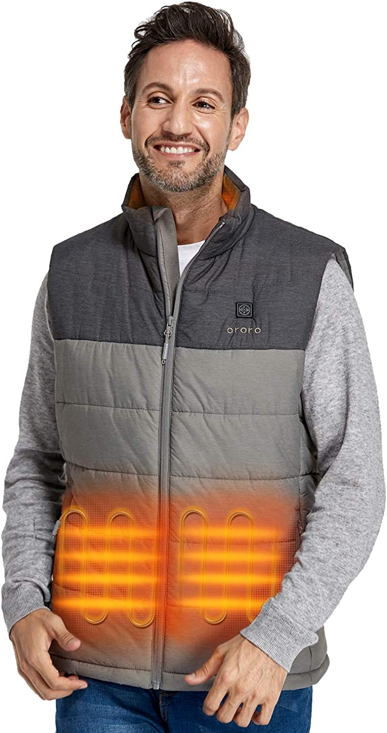 ORORO Men's Lightweight Heated Vest with Battery Pack at  Men's Clothing store
