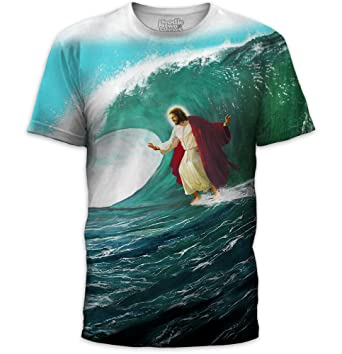 8cdae0d4 Amazon.com: Surf's Up Jesus T-Shirt Lord Christ Surf Funny Dude JC ...