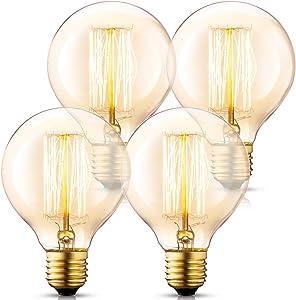 Asgens 4 Pack Vintage Incandescent G30/G95 Edison Light Bulbs 40 Watt, 2200K Warm White Lightbulbs - E26 Base - Globe Amber Clear Glass - 210 Lumens, Dimmable Antique Filament Light Bulbs