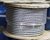 """Galvanized Aircraft Steel Wire Rope Cable 3/8"""" x"""