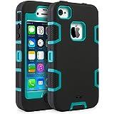 iPhone 4 Custodia - SUPAD® iPhone 4S Custodia Slim Fit sottile doppio Defender Case strato armatura Hybrid Coprire Silicone Cover per Apple iPhone 4/4S (Nero Blu)
