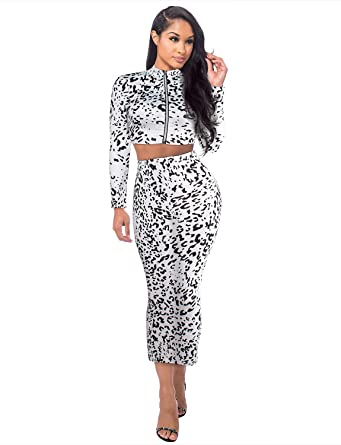 Sedrinuo Women Sexy Leopard Print Dress Elegant Long Sleeve 2 Piece Outfits  Party Club Dress White 115354bec4
