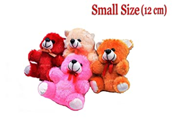 JYEONS - Small Size Cute Teddy Bear for Friends Girls Boys Red Pink Orange Brown 12cm [ Set of Four ]