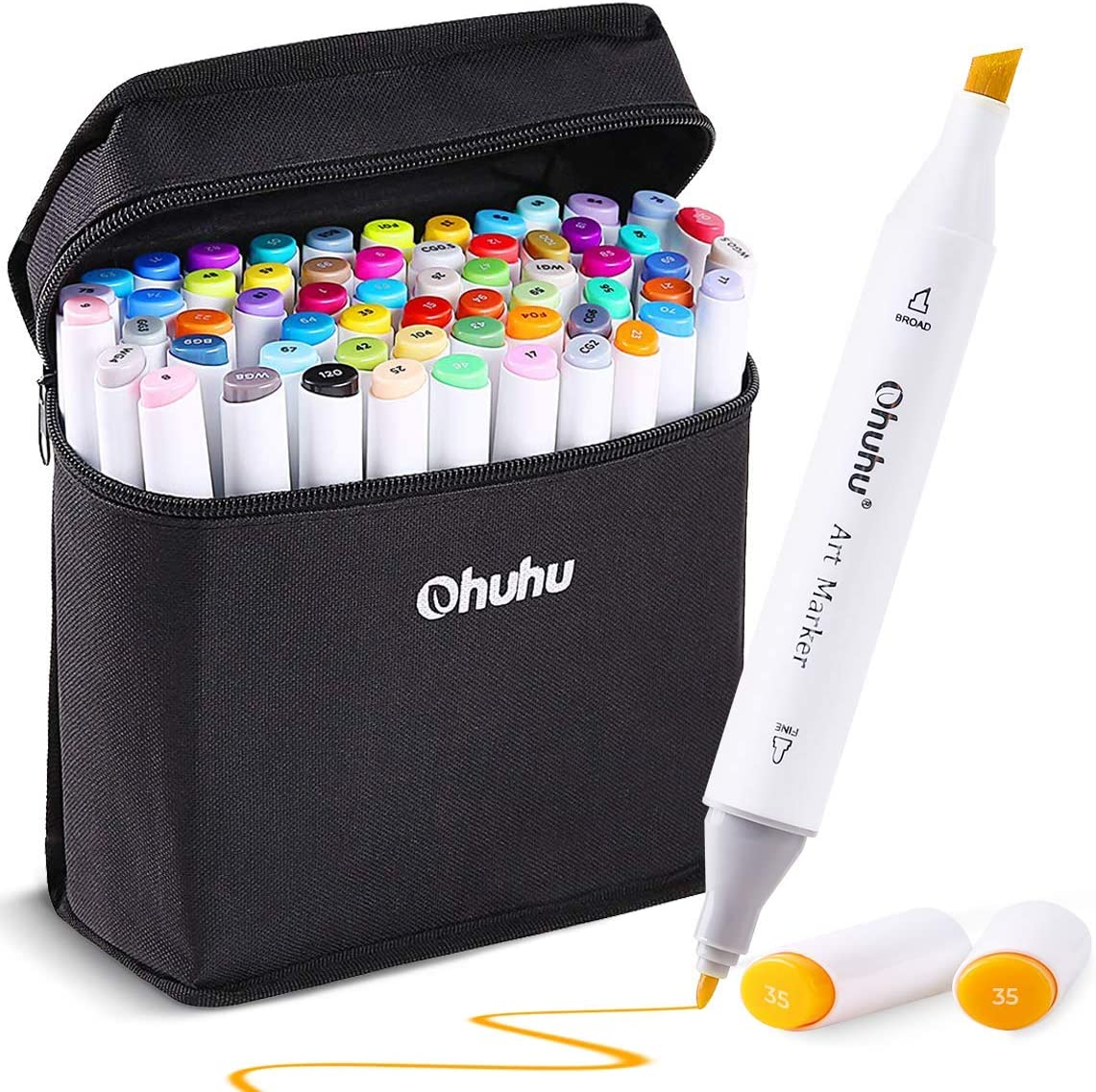 60 Colors Alcohol Art Markers, Ohuhu Double Tipped Coloring Marker for Kids, Fine and Chisel Tip Dual Alcohol Based Drawing Markers for Sketch Adult Coloring Book, Comes with Colorless Marker Blender