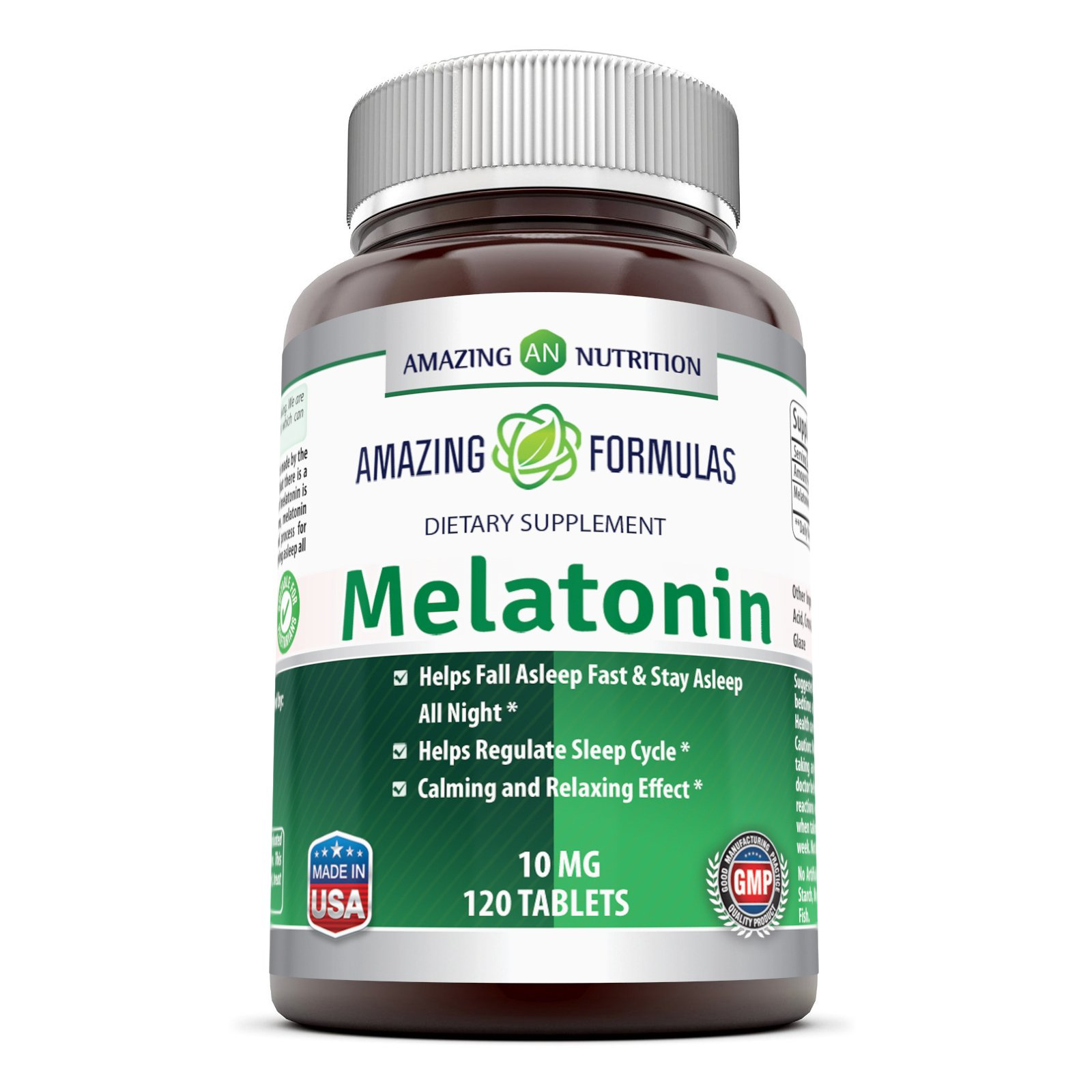 Amazing Nutrition Melatonin for Relaxation and Sleep, 10 Mg, 120 Tablets