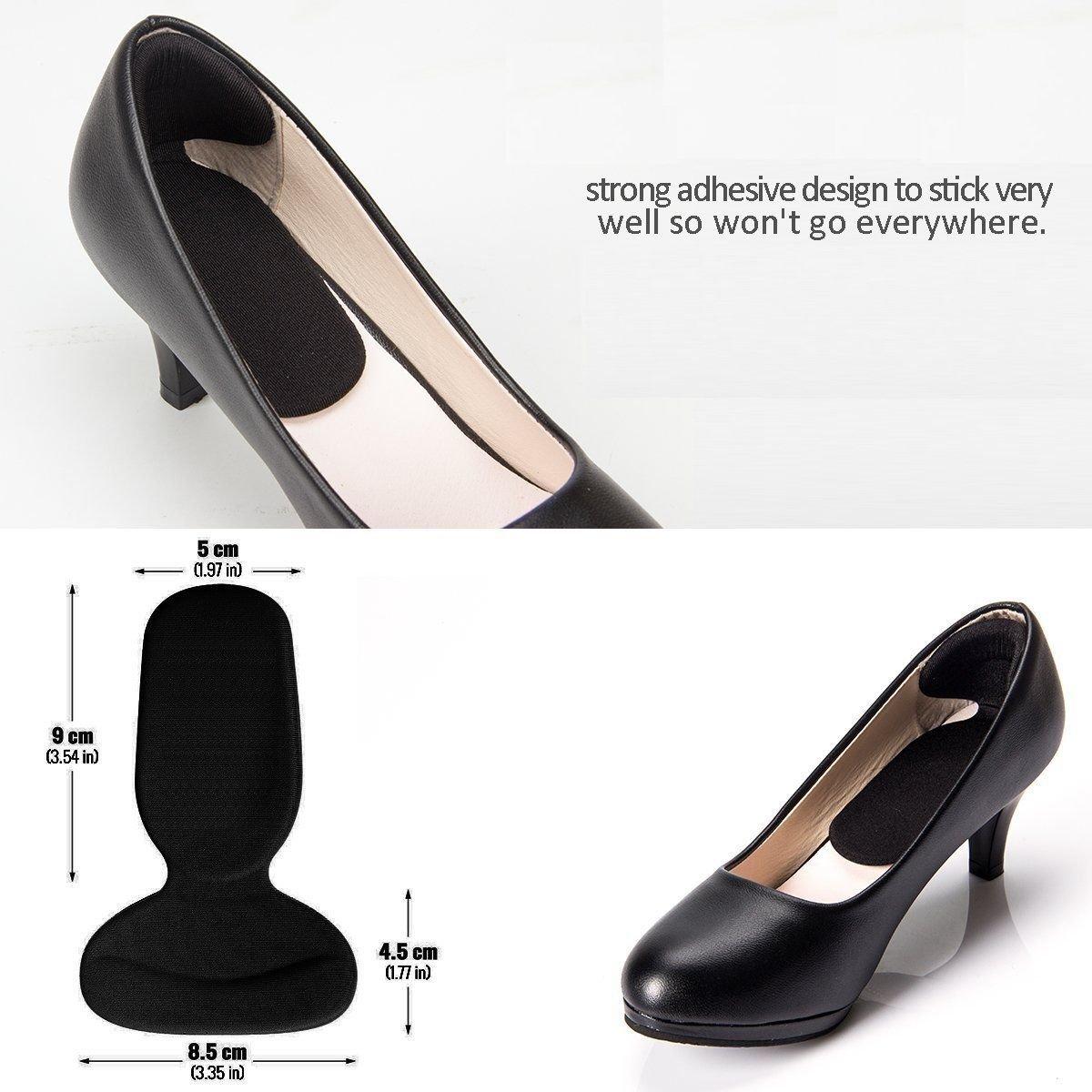 High Heel Pads (8 pcs) - High Heel Inserts, Heel Grips, Anti Slip Shoe Cushion, Ball of Foot Insoles, High Heel Liner, Heel Snugs for Women - Blister Prevention & Improve Shoes Too Big (Black)