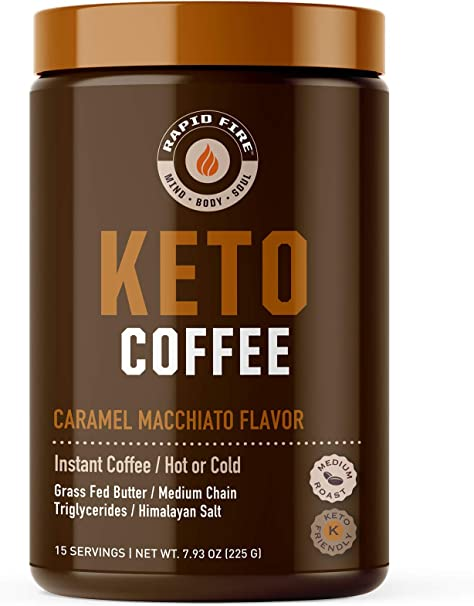 Rapidfire Keto Coffee Instant Coffee Mix, Caramel Macchiato Flavor, 15 Servings, 7.93 Ounce