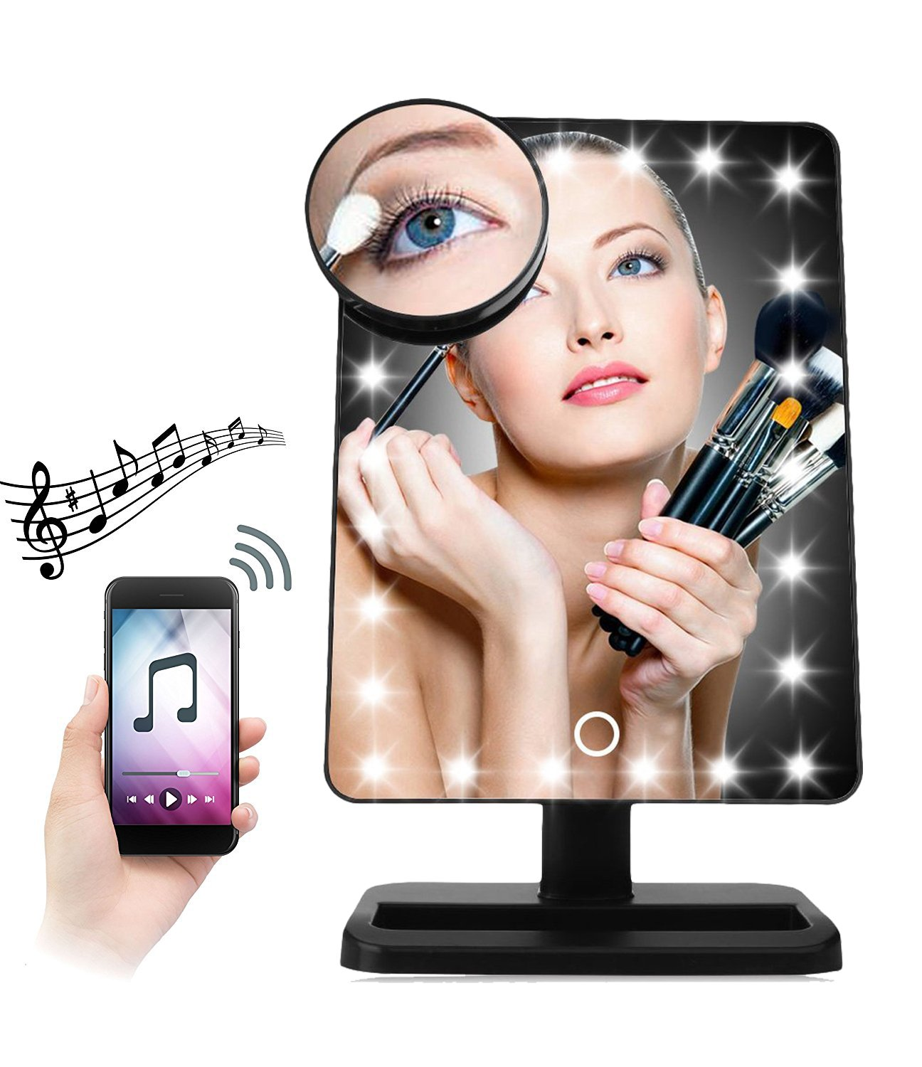 Makeup Mirror - 20 LED Lights Cosmetic Mirror & Touch Screen Dimmable and Removable 10X Magnifying, 180° Rotation Vanity Mirror with Lights (Bluetooth-Black) DANYCASE