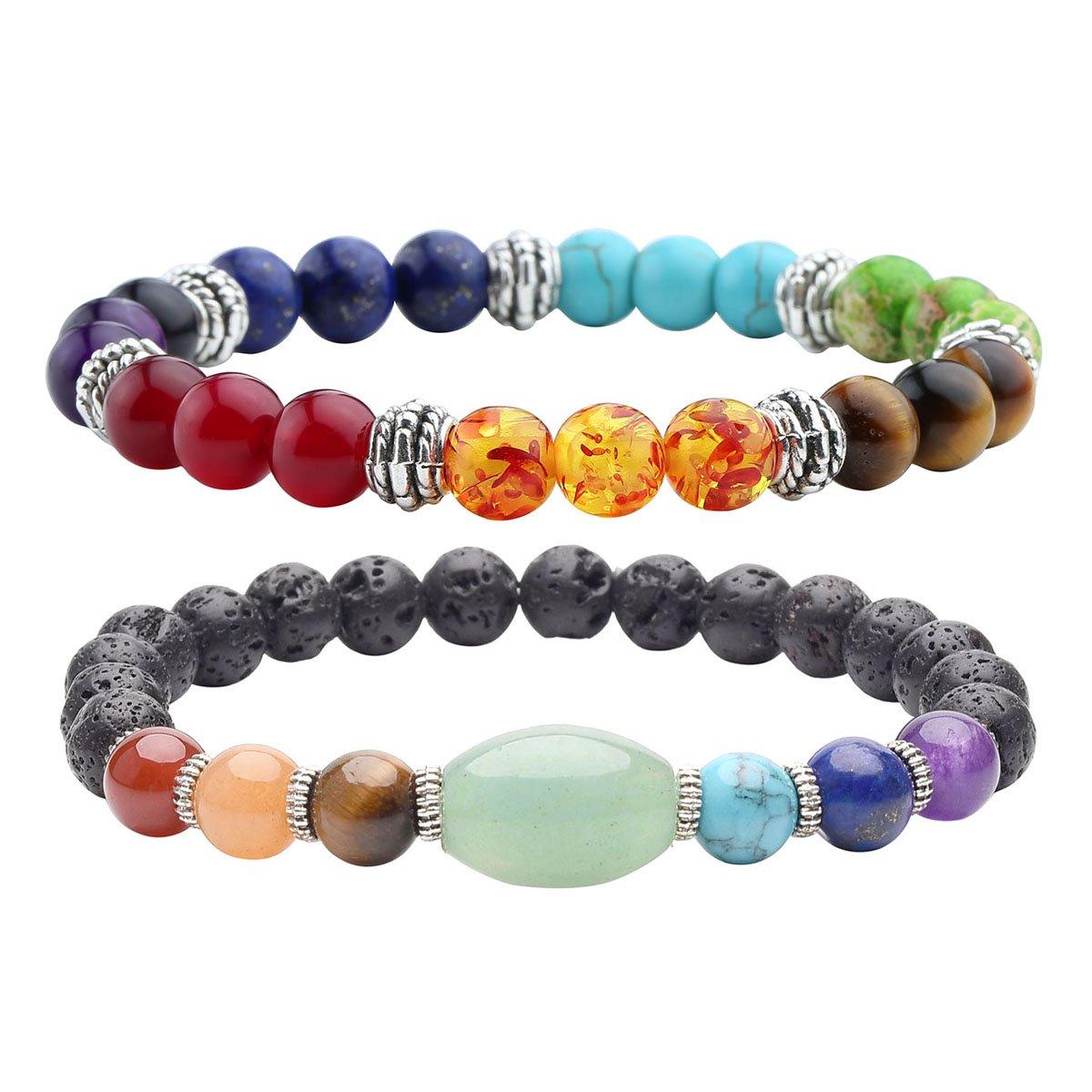 Top Plaza Lava Stone Diffuser Bracelet - Aromatherapy 7 Chakra Tree of Life Charm Yoga Meditation Reiki Healing Crystals Bracelets ATPUS65242