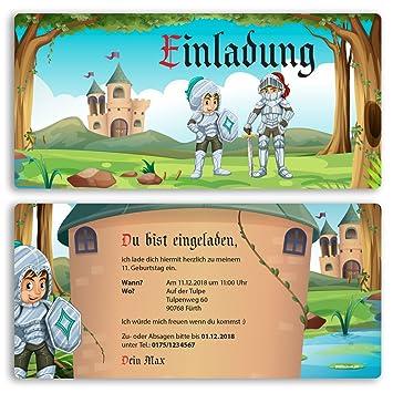 Schön (10 X) Einladungskarten Kindergeburtstag Ritter Schloss Einschulung  Einladungen