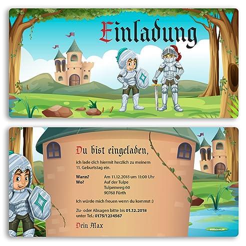 Einladungskarten Kindergeburtstag 15 Stuck Ritter Schloss Kinder