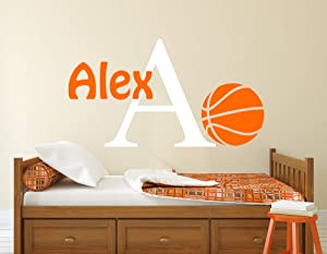 Personalized Basketball Name Wall Decal - Basketball Wall Decals - Nursery Wall Decals - Kids Sport Basketball Room Decor Art Mural Vinyl Sticker (30